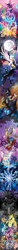 Size: 602x8192 | Tagged: safe, artist:spacekitty, character:adagio dazzle, character:angel bunny, character:applejack, character:aria blaze, character:discord, character:flash magnus, character:fluttershy, character:king sombra, character:meadowbrook, character:mistmane, character:nightmare moon, character:pinkie pie, character:pony of shadows, character:princess celestia, character:princess luna, character:rainbow dash, character:rarity, character:rockhoof, character:somnambula, character:sonata dusk, character:spike, character:star swirl the bearded, character:stygian, character:twilight sparkle, character:twilight sparkle (unicorn), species:alicorn, species:draconequus, species:dragon, species:earth pony, species:pegasus, species:pony, species:rabbit, species:siren, species:umbrum, species:unicorn, g4, my little pony:equestria girls, license:cc-by-nc-nd, applejack's hat, armor, black vine, cape, chair, clothing, cloud, cowboy hat, crown, crying, cutie mark, dark magic, digital art, element of generosity, element of honesty, element of kindness, element of laughter, element of loyalty, element of magic, elements of harmony, ethereal mane, female, full moon, galaxy mane, hat, healer's mask, helmet, hoof shoes, jewelry, lightning, magic, male, mane seven, mane six, mare, mare in the moon, mask, moon, necklace, peytral, pillars of equestria, plunder seeds, ponytail, regalia, saddle bag, scroll, shoes, sombra eyes, sombra horn, spread wings, stallion, stetson, throne, tree of harmony, umbrella, vector, vine, wings