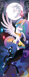 Size: 1200x3137   Tagged: safe, artist:spacekitty, character:nightmare moon, character:princess celestia, character:princess luna, species:alicorn, species:pony, g4, license:cc-by-nc-nd, armor, clothing, crown, crying, digital art, element of generosity, element of honesty, element of kindness, element of laughter, element of loyalty, element of magic, elements of harmony, ethereal mane, eyes closed, female, full moon, galaxy mane, hoof shoes, jewelry, mare, mare in the moon, moon, necklace, peytral, regalia, shoes, spread wings, vector, wings