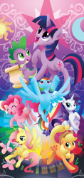 Size: 1200x2550 | Tagged: safe, artist:spacekitty, character:angel bunny, character:applejack, character:fluttershy, character:pinkie pie, character:rainbow dash, character:rarity, character:spike, character:twilight sparkle, character:twilight sparkle (unicorn), species:dragon, species:earth pony, species:pegasus, species:pony, species:rabbit, species:unicorn, g4, applejack's hat, clothing, cowboy hat, cutie mark, digital art, female, flying, hat, license:cc-by-nc-nd, male, mane seven, mane six, mare, open mouth, ponytail, scroll, smiling, spread wings, stetson, vector, wings