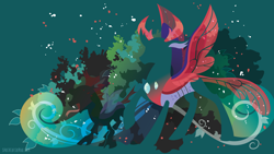 Size: 3840x2160   Tagged: safe, artist:spacekitty, character:pharynx, species:changeling, species:reformed changeling, g4, license:cc-by-nc-nd, abstract background, digital art, green background, hooves, one hoof raised, silhouette, simple background, solo, spread wings, vector, wings