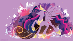 Size: 3840x2160   Tagged: safe, artist:spacekitty, character:twilight sparkle, character:twilight sparkle (alicorn), species:alicorn, species:pony, g4, license:cc-by-nc-nd, abstract background, clothing, crown, cutie mark, digital art, ethereal mane, female, hoof shoes, jewelry, mare, necklace, older, older twilight, open mouth, peytral, princess twilight 2.0, regalia, shoes, silhouette, smiling, solo, spread wings, vector, wings