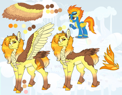 Size: 1606x1259   Tagged: safe, artist:malinraf1615, character:spitfire, species:pegasus, species:pony, alternate design, alternate hairstyle, chest fluff, clothing, coat markings, ear fluff, female, fluffy, grin, hair over one eye, leg fluff, mare, markings, one eye closed, raised hoof, redesign, reference sheet, scar, smiling, solo, spread wings, tail feathers, uniform, unshorn fetlocks, watermark, wings, wink, wonderbolts, wonderbolts uniform