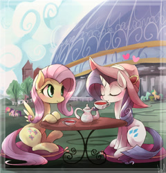 Size: 1000x1040 | Tagged: safe, artist:kolshica, character:fluttershy, character:rarity, species:pegasus, species:pony, species:unicorn, ship:rarishy, g4, blushing, clothing, cup, drink, eyes closed, female, hat, lesbian, mare, shipping, sitting, table, tea, teacup, teapot