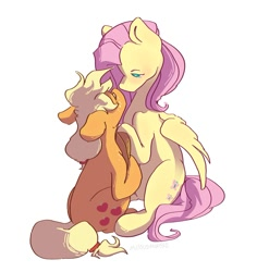 Size: 1133x1200 | Tagged: safe, artist:missusmousse, character:applejack, character:fluttershy, species:earth pony, species:pegasus, species:pony, ship:appleshy, g4, cute, featured image, looking at each other