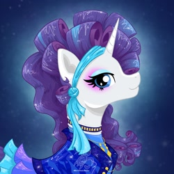 Size: 2048x2048   Tagged: safe, artist:turtletroutstudios, character:rarity, species:pony, species:unicorn, abstract background, alternate hairstyle, clothing, eyeshadow, female, high res, jewelry, looking at you, makeup, mare, profile, retro, solo, watermark