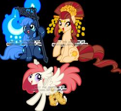 Size: 900x821   Tagged: safe, artist:sakuyamon, oc, species:earth pony, species:pony, female, happy, mare, moon, obtrusive watermark, staff, trio, watermark