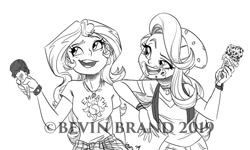 Size: 1280x768   Tagged: safe, artist:bevin brand, character:starlight glimmer, character:sunset shimmer, species:eqg human, g4, my little pony:equestria girls, commission, food, ice cream, obtrusive watermark, official fan art, text, watermark