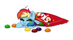 Size: 5462x3067   Tagged: safe, artist:kittyrosie, character:rainbow dash, species:pegasus, species:pony, blep, blushing, candy, cute, dashabetes, eyes closed, food, happy, heart, redraw, simple background, skittles, smiling, solo, taste the rainbow, tongue out, white background
