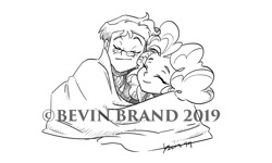 Size: 1280x768   Tagged: safe, artist:bevin brand, character:pinkie pie, oc, oc:copper plume, species:eqg human, g4, my little pony:equestria girls, blanket, canon x oc, commission, cuddling, obtrusive watermark, official fan art, shipping, watermark