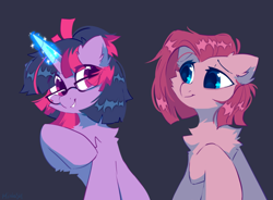 Size: 844x620   Tagged: safe, artist:mirtash, character:pinkie pie, character:twilight sparkle, character:twilight sparkle (unicorn), species:earth pony, species:pony, species:unicorn, g4, alternate universe, chest fluff, cute, glasses, glowing horn, horn, magic