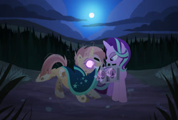 Size: 1920x1296   Tagged: safe, artist:heavysplatter, character:starlight glimmer, character:sunburst, species:pony, species:unicorn, ship:starburst, boombox, female, hypnosis, hypnotized, male, night, shipping, straight, undead, zombie, zombie pony