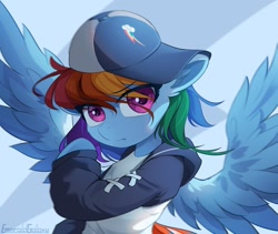 Size: 1200x1014 | Tagged: safe, artist:emeraldgalaxy, character:rainbow dash, species:pegasus, species:pony, g5, bust, cap, clothing, cutie mark, cutie mark on clothes, hat, hoodie, solo