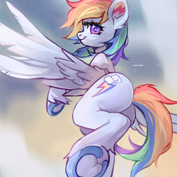 Size: 3000x3000 | Tagged: safe, artist:kencee6, character:rainbow dash, species:pegasus, species:pony, g4, butt, ear fluff, female, flying, frog (hoof), hooves, leg fluff, looking at you, mare, plot, profile, solo, underhoof