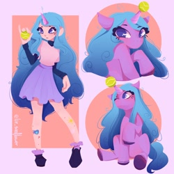 Size: 1200x1200   Tagged: safe, artist:andy__lie, character:izzy moonbow, species:anthro, species:unicorn, g5, ball, childproof horn, clothing, cute, cutie mark, gradient mane, horn, izzy's tennis ball, solo, tennis ball, that pony sure does love tennis balls, toy