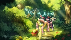 Size: 2560x1440 | Tagged: safe, artist:anticular, character:applejack, character:fluttershy, character:pinkie pie, character:rainbow dash, character:rarity, character:twilight sparkle, character:twilight sparkle (alicorn), species:alicorn, species:earth pony, species:pegasus, species:pony, species:unicorn, g4, clothing, flying, forest, hat, holding, mane six, mouth hold, picnic basket, scenery, smiling, sun hat, sunglasses, walking