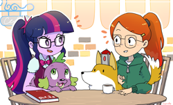 Size: 2475x1495 | Tagged: safe, artist:nendo, character:spike, character:spike (dog), character:twilight sparkle, character:twilight sparkle (scitwi), species:eqg human, species:human, g4, my little pony:equestria girls, atticus (infinity train), book, chair, clothing, commission, crossover, crystal prep academy uniform, cup, cute, dog, glasses, hoodie, infinity train, looking at each other, remote, school uniform, shiba inu, shibe, signature, spikabetes, table, teacup, tulip olsen, twiabetes, uniform