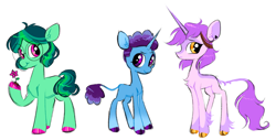 Size: 1280x648   Tagged: safe, artist:webkinzworld, species:classical unicorn, species:earth pony, species:pony, species:unicorn, amity blight, chest fluff, crossover, flower, gus porter, leg fluff, ponified, species swap, the owl house, willow park