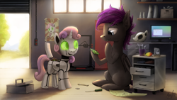 Size: 4096x2304   Tagged: safe, artist:magfen, character:sweetie belle, oc, species:bat pony, species:pony, species:unicorn, friendship is witchcraft, sweetie bot, g4, 3d printer, bat pony oc, circuit board, computer, ear fluff, food, glowing eyes, hoof hold, leg fluff, mango, monitor, open mouth, open smile, poster, profile, robot, screwdriver, screws, smiling, three quarter view, toolbox, wires, wrench