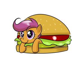 Size: 2000x2000   Tagged: safe, artist:kloudmutt, character:scootaloo, species:pegasus, species:pony, g4, burger, chicken burger, cute, cutealoo, female, filly, food, hamburger, ponies in food, scootaburger, scootachicken, simple background, smiling, solo, white background, young