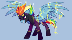 Size: 1280x720 | Tagged: safe, artist:rutkotka, character:rainbow dash, species:pegasus, species:pony, g4, blue background, clothing, costume, shadowbolts, shadowbolts costume, simple background, solo, spread wings, wings