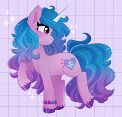 Size: 3000x2882   Tagged: safe, artist:emera33, character:izzy moonbow, species:pony, species:unicorn, g5, bracelet, cute, female, gradient mane, high res, izzybetes, jewelry, looking back, mare, profile, raised hoof, solo, sparkles, unshorn fetlocks