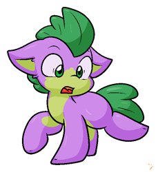 Size: 559x619 | Tagged: safe, artist:zutcha, character:spike, species:earth pony, species:pony, g4, cute, floppy ears, male, open mouth, ponified, ponified spike, raised hoof, raised leg, simple background, solo, species swap, spikabetes, transparent background