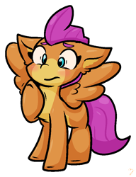 Size: 662x863 | Tagged: safe, artist:zutcha, character:smolder, species:pegasus, species:pony, blushing, cute, female, floppy ears, ponified, ponified smolder, raised hoof, simple background, smolderbetes, solo, species swap, spread wings, transparent background, wings