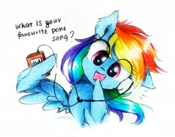 Size: 2440x1916 | Tagged: safe, artist:liaaqila, character:rainbow dash, species:pegasus, species:pony, cassette player, cute, dashabetes, dialogue, looking at you, question, simple background, solo, talking to viewer, traditional art, walkman, white background, wing hands, wings