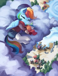 Size: 3117x4096 | Tagged: safe, artist:saxopi, character:rainbow dash, species:pegasus, species:pony, g4, boat, clothing, cloud, cute, dashabetes, house, lighthouse, lying down, pier, scarf, sleeping, solo, visible breath, water