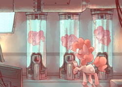 Size: 1280x905 | Tagged: safe, artist:sony-shock, character:pinkie pie, species:earth pony, species:pony, g4, cable, cables, clipboard, clone, cloning, clothing, coat, computer, computer monitor, computer screen, fluid, indoors, lab coat, laboratory, monitor, pinkie clone, pipe (plumbing), pipes, profile, science, science fiction, scientist, screen, sleeping, tube, tubes, wires