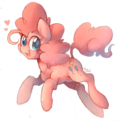 Size: 1000x1023 | Tagged: safe, artist:sony-shock, character:pinkie pie, species:earth pony, species:pony, g4, cute, cutie mark eyes, diapinkes, female, heart, looking at you, mare, open mouth, open smile, simple background, smiling, solo, three quarter view, transparent background, wingding eyes