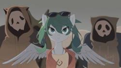 Size: 1920x1080 | Tagged: safe, artist:anatanoakanart, species:earth pony, species:pegasus, species:pony, anime, clothing, crossover, digital art, ear piercing, earring, hatsune miku, jewelry, piercing, ponified, sand planet, signature, solo focus, species swap, spread wings, sunglasses, vocaloid, wings