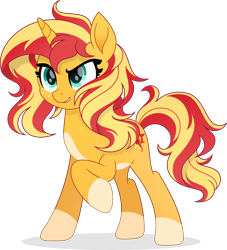 Size: 4409x4848 | Tagged: safe, artist:pumpkinpieforlife, character:sunset shimmer, species:pony, species:unicorn, g4, my little pony: the movie (2017), my little pony:equestria girls, absurd resolution, alternate design, coat markings, digital art, freckles, messy mane, movie accurate, pale belly, raised hoof, simple background, socks (coat marking), solo, style emulation, transparent background, vector