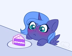 Size: 1200x943   Tagged: safe, artist:cloudberry_mess, character:princess luna, species:alicorn, species:pony, g4, blushing, cake, cake slice, eyes on the prize, filly, filly luna, food, slice of cake, solo, unshorn fetlocks, woona, younger