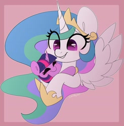 Size: 3883x3970 | Tagged: safe, artist:sakukitty, character:princess celestia, character:twilight sparkle, character:twilight sparkle (unicorn), species:alicorn, species:pony, species:unicorn, g4, abstract background, bust, cute, cutelestia, duo, duo female, eye clipping through hair, eyebrows, eyebrows visible through hair, eyes closed, female, filly, filly twilight sparkle, grin, high res, hug, mare, momlestia, mother, simple background, smiling, spread wings, twiabetes, wings, young, younger