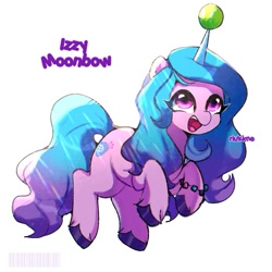 Size: 1200x1200 | Tagged: safe, artist:ikuyimii, character:izzy moonbow, species:unicorn, g5, ball, bracelet, childproof horn, gradient mane, horn, izzy's tennis ball, jewelry, solo, tennis ball, text, that pony sure does love tennis balls, toy, unshorn fetlocks
