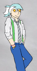 Size: 1280x2478 | Tagged: safe, artist:jesterofdestiny, character:lyra heartstrings, species:human, bracelet, clothing, colored pupils, digitally colored, hands in pockets, humanized, jeans, jewelry, lesbian pride flag, looking at you, necktie, pants, ponytail, pride, pride flag, rolled up sleeves, simple background, solo, species swap, suspenders, traditional art, wristband