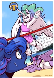 Size: 1640x2360 | Tagged: safe, artist:lrusu, character:princess celestia, character:princess luna, character:twilight sparkle, character:twilight sparkle (alicorn), species:alicorn, species:pony, g4, alternate hairstyle, ball, beach, bipedal, clothing, open mouth, outdoors, shorts, smiling, sports, spread wings, sweat, tank top, toy, underhoof, volleyball, wide eyes, wings