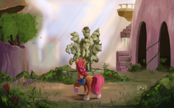 Size: 2392x1484 | Tagged: safe, artist:scalent, character:applejack, character:fluttershy, character:pinkie pie, character:rainbow dash, character:rarity, character:sunny starscout, character:twilight sparkle, species:earth pony, species:pony, episode:the last problem, g5, my little pony: friendship is magic, bag, bird nest, braid, coat markings, crepuscular rays, facing away, female, g4 to g5, mane six, mare, plant, ruins, socks (coat marking), solo, statue