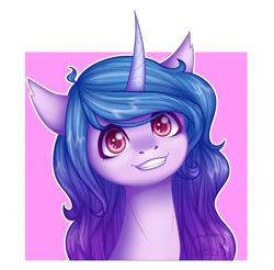Size: 1024x1007 | Tagged: safe, artist:cloudberry_mess, character:izzy moonbow, species:unicorn, g5, bust, gradient mane, smiling, solo