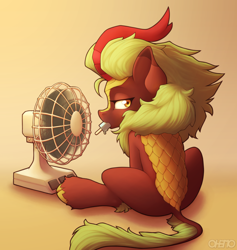 Size: 1800x1900   Tagged: safe, artist:ohemo, character:cinder glow, character:summer flare, species:kirin, g4, fan, female, food, holding, looking back, mouth hold, popsicle, profile, simple background, solo