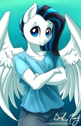 Size: 400x619 | Tagged: safe, artist:starshinebeast, oc, oc only, species:anthro, species:pegasus, species:pony, big wings, black and blue, blue and black, blue eyes, clothing, crossed arms, female, jeans, looking at you, mare, pants, pegasus oc, shirt, solo, standing, wings