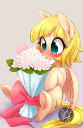 Size: 582x900 | Tagged: safe, artist:starshinebeast, oc, oc only, species:pegasus, species:pony, blushing, bouquet, colored pupils, eyebrows, eyebrows visible through hair, flower, gradient background, pegasus oc, signature, simple background, sitting, solo, spread wings, three quarter view, watermark, wings