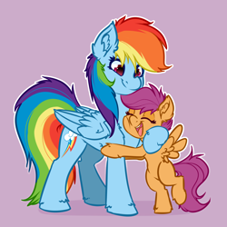 Size: 4000x4000 | Tagged: safe, artist:witchtaunter, character:rainbow dash, character:scootaloo, species:pegasus, species:pony, bipedal, chest fluff, commission, cute, ear fluff, eyes closed, fluffy, hoof fluff, hooves, hug, leg fluff, open mouth, open smile, scootalove, simple background, smiling, spread wings, wing fluff, wings