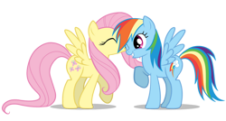 Size: 900x483 | Tagged: safe, artist:mixermike622, character:fluttershy, character:rainbow dash, species:pegasus, species:pony, ship:flutterdash, g4, female, kissing, lesbian, shipping, transparent background