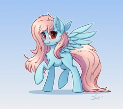 Size: 2525x2232 | Tagged: safe, artist:dandy, oc, oc only, oc:arctic sky, species:pegasus, species:pony, g4, blushing, cute, explicit source, female, gift art, gradient background, looking at you, mare, raised hoof, simple background, smiling, solo, spread wings, wings