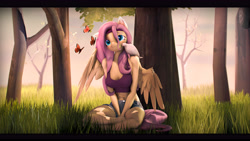 Size: 8000x4500 | Tagged: safe, artist:imafutureguitarhero, character:fluttershy, species:anthro, species:pegasus, species:pony, g4, 3d, bird, blushing, bra, butterfly, clothing, crossed legs, dove, explicit source, female, forest, grass, headband, mare, shorts, sitting, solo, source filmmaker, sports bra, spread wings, tree, underwear, wings