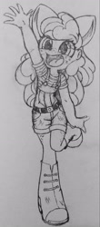 Size: 1485x3367   Tagged: safe, artist:shadowhawx95, character:apple bloom, species:eqg human, g4, my little pony:equestria girls, apple family member, bow, clothing, freckles, monochrome, pencil drawing, raised arm, simple background, sketch, smiling, solo, suspenders, traditional art, white background
