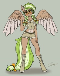 Size: 1965x2480 | Tagged: safe, artist:dandy, oc, oc only, oc:sylvia evergreen, species:anthro, species:pegasus, species:pony, species:unguligrade anthro, belly button, blushing, boots, braid, braided pigtails, clothing, cute, female, freckles, gray background, mare, midriff, peace sign, pigtails, ribbon, shirt, shoes, shorts, simple background, smiling, solo, spread wings, tail, twintails, wings