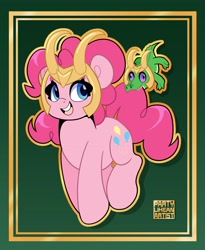 Size: 3064x3736 | Tagged: safe, artist:partylikeanartist, character:gummy, character:pinkie pie, species:earth pony, species:pony, g4, alligator, crossover, cute, diapinkes, helmet, loki, marvel, marvel cinematic universe, marvel comics, simple background, solo
